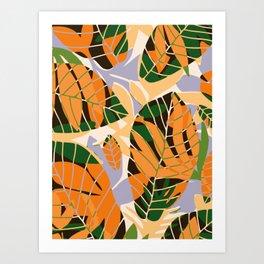 Summer orange botanical pattern Art Print