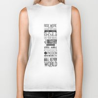 motivational Biker Tanks featuring Lab No. 4 - Robin Sharma Motivational Quotes Poster by Lab No. 4