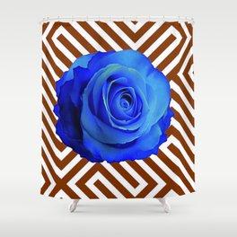 CONTEMPORARY  DECO  BLUE ROSE & BROWN ART Shower Curtain