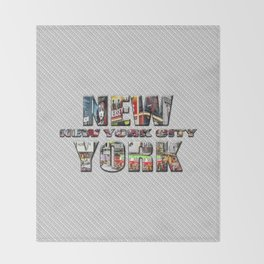 New York - New York City (color type on mono type) Throw Blanket