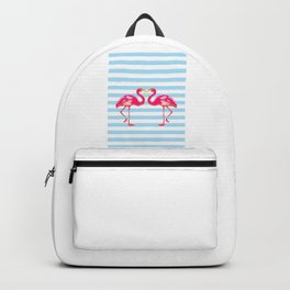 Flamingo poster, t-shirt, Watercolor, pink in blue stripes Backpack