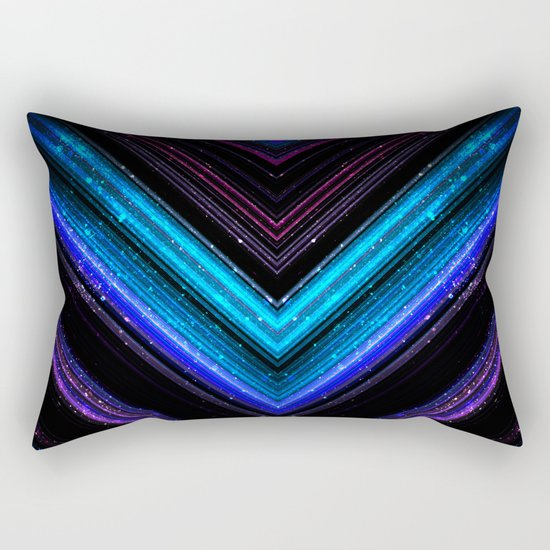 Sparkly metallic blue and purple galaxy lines Rectangular Pillow