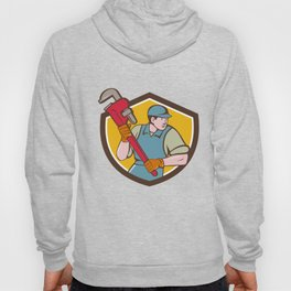 Plumber Running Monkey Wrench Crest Cartoon Hoody