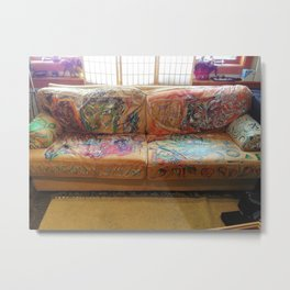 """Famous Late Night Painted Sofa"" - nice, very old Italian Leather Sofa I painted. Metal Print"