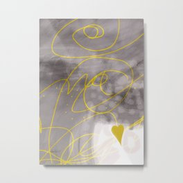 Heart Yellow And Gray abstract art by Ann Powell Metal Print