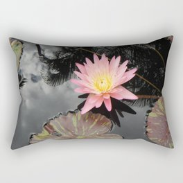 Pink Lily in Pond Rectangular Pillow