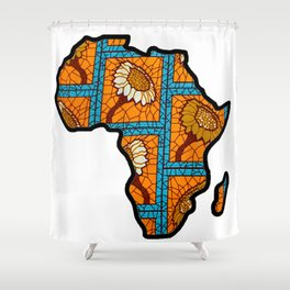 Blue Gold Floral Africa Map Shower Curtain