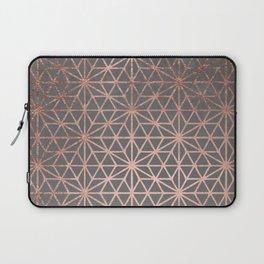 Modern rose gold stars geometric pattern Christmas grey graphite concrete industrial cement Laptop Sleeve