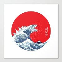 kaiju Canvas Prints featuring Hokusai kaiju by Marco Mottura - Mdk7