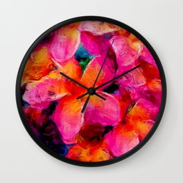 Tropical Flowers by Lika Ramati Wall Clock