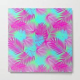 Neon Pink & Blue Tropical Print Metal Print