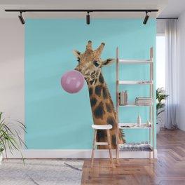 Giraffe with bubble gum Wall Mural