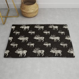 Moose in Winter Snow on Black - Wild Animals - Mix & Match with Simplicity of Life Rug