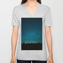 Blue Milky Way Galaxy Pine Tree Silhouette Night Star Sky Unisex V-Neck