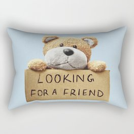 Looking for a Friend Teddy Bear Rectangular Pillow