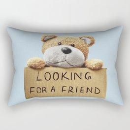 Looking for a Friend Teddy Bear Rectangular Pillow