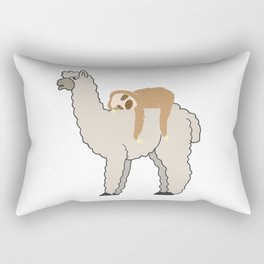 Cute & Funny Sleepy Sloth & Llama Rectangular Pillow
