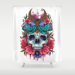 Neo Traditional Patterned Moth and Skull Shower Curtain