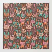 bunnies Canvas Prints featuring Bunnies by Olya Yang