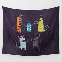 vegetarian Wall Tapestries featuring Secretly Vegetarian Monsters by Nic Squirrell