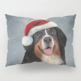 Bernese Mountain Dog in red hat of Santa Claus Pillow Sham
