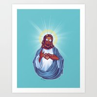 zoidberg Art Prints featuring Zoidberg Jesus by Kim Hobby