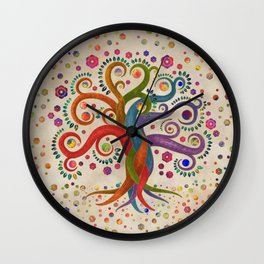 Tree of Life - Yggdrasil - Watercolor swirl Wall Clock