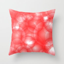Gentle intersecting red translucent circles in pastel colors with a ruby glow. Throw Pillow