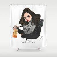 phil jones Shower Curtains featuring Jessica Jones by daniellepioli