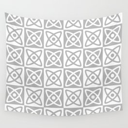 Mid Century Modern Atomic Check 138 Gray Wall Tapestry