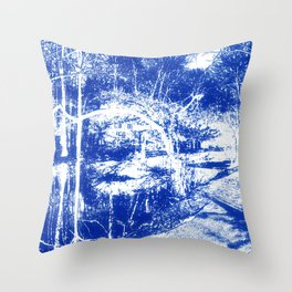 Looking in the water mirror-blue Throw Pillow