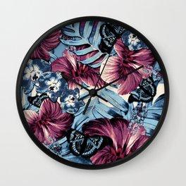 Vintage Chambray Burgundy Aloha Wall Clock