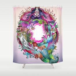 Q - blue pink Shower Curtain