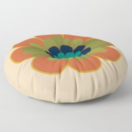 Morelia 2 Flower Single - Retro Floral in Orange, Navy, Olive, Teal and Mustard on Mid Mod Beige Floor Pillow