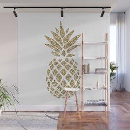 Gold Glitter Pineapple Wall Mural