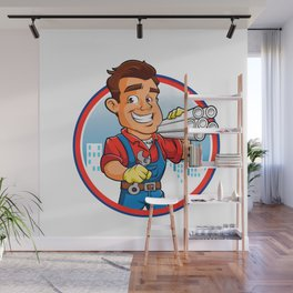 plumber worker with key in the hand Wall Mural