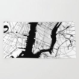 New York City Minimal Map Beach Towel