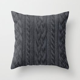 Charcoal Cable Knit Throw Pillow