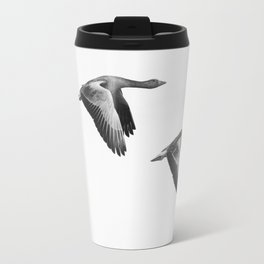 A Pair of Wild Geese Flying Together Synchronized Travel Mug