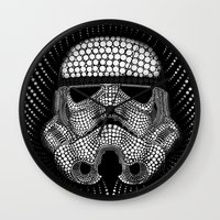 trooper Wall Clocks featuring Trooper Star Circle Wars by Msimioni