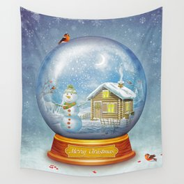 Merry christmas glass ball  Wall Tapestry