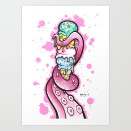 Pink tentacle with ice cream Art Print