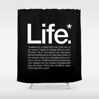 strong Shower Curtains featuring Life.* Available for a limited time only. by WORDS BRAND™
