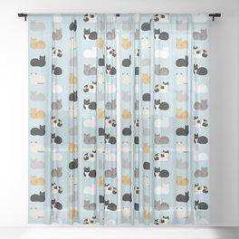 Cat Loaf Print Sheer Curtain