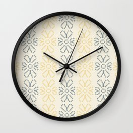 Embroidered flowers yellow and grey pattern Wall Clock