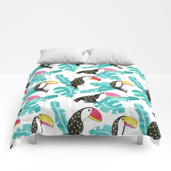 Watercolor toucan and leaves Comforters