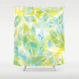 watercolor inspired leaves, spring palette Shower Curtain