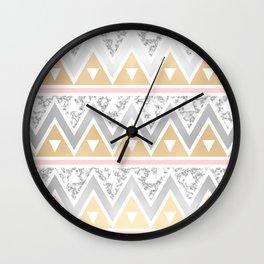 Gold, Silver & Marble Chevron Pattern Wall Clock