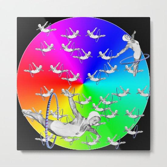 Synchronised Rainbow Hoop Divers Metal Print