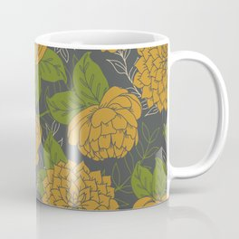 Floral Pattern in Goldenrod and Green Coffee Mug
